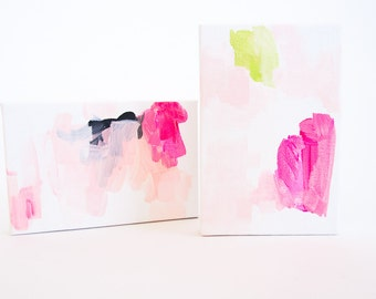 "4""x6"" Painting Set of 2, Handmade Gift, Colorful Art, Gift for Her, Gift for Friend, Abstract Modern Art"