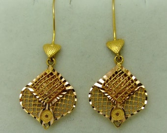 14k Ethnic Large Yellow & Rose Gold Drop Earrings