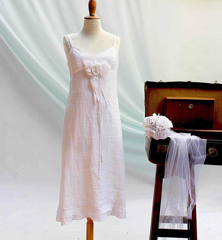 White linen wedding dress princess wedding dress boho dress for White linen dress for beach wedding