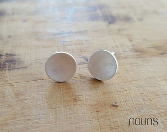Silver Stud Earrings, Sterling Silver Stud Earings, Silver Dot Studs, Silver Studs Post Earrings, Flat Circle Sterling Earrings