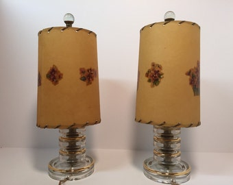 Mid century modern stacked glass boudoir lamps with decoupage fiberglass shades