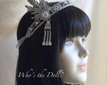 Great Gatsby style headpiece/Daisy/1920's Bridal headpiece/Flapper style headpiece/Rhinestone/Bridal headpiece/ rhinestone/high quality
