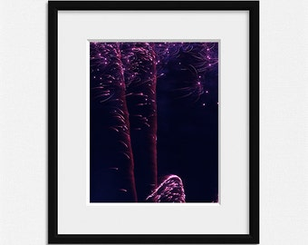 Fireworks photography, living room decor, sparkle prints, purple wall art, abstract photo, fireworks print black pink wall decor celebration