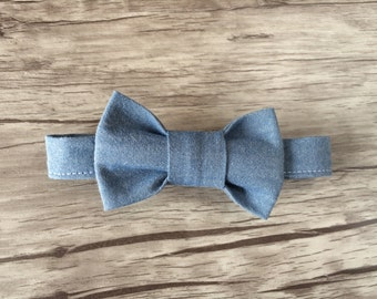 Baby Bow Tie-Chambray Bow Tie- Modern Bow Tie
