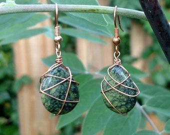 Kundalini Awakening Serpentine copper wire wrapped earrings
