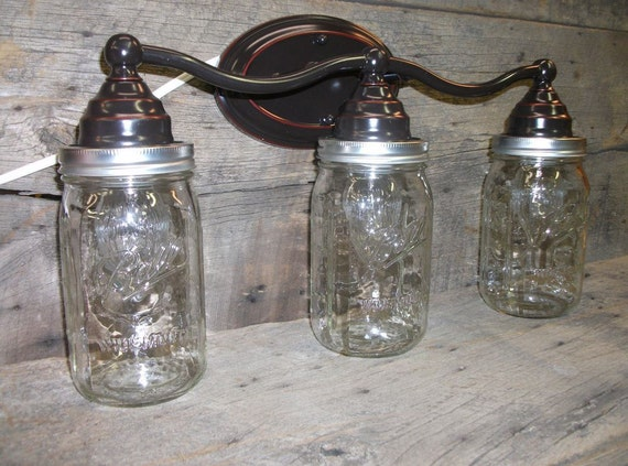 Mason Jar Light 3 Light Weathered Bronze Rustic Mason Jar