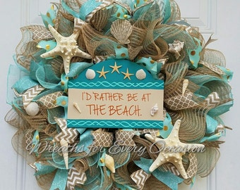 I'd Rather be at the Beach burlap ruffle wreath