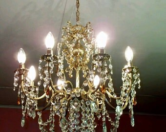 6 Arms Antique French Art Nouveau Style Vintage Brass Crystal Chandelier  Architectural Home Office Restaurant Cafe Design
