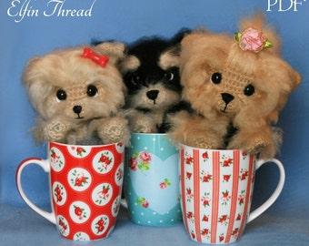 Elfin Thread- Cream, Coffee and Cookie The Yorkie Puppies Amigurumi PDF Pattern (Crochet Dog Pattern)