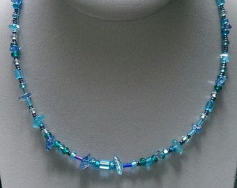Blue Chip Bead Necklace