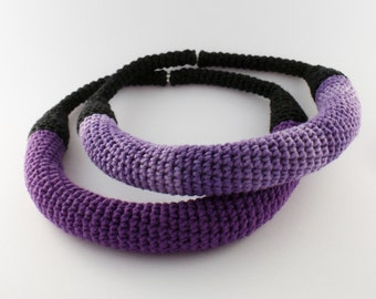Crochet purple necklace, Unique necklace, Statement jewelry, Yarn necklace