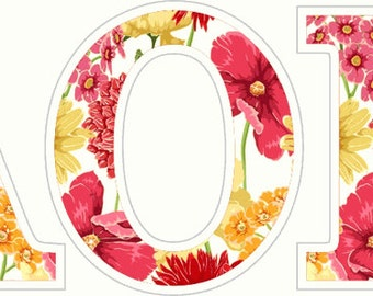 Alpha Omicron Pi Floral Letter Sticker - 2.5