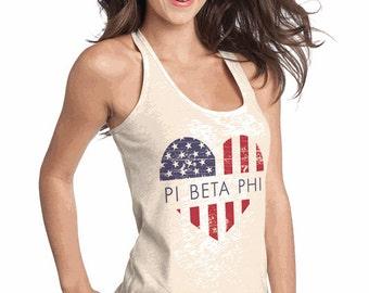 Pi Beta Phi USA Flag Heart Juniors T-Back Tank