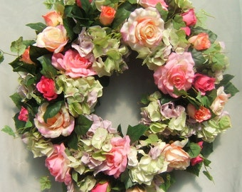 One of Two !!  HYDRANGEA and ROSE WREATH, Summer Wreath, Wreath for Door, Pink and Green Wreath, Cottage Wreath, Silk Flower Wreath