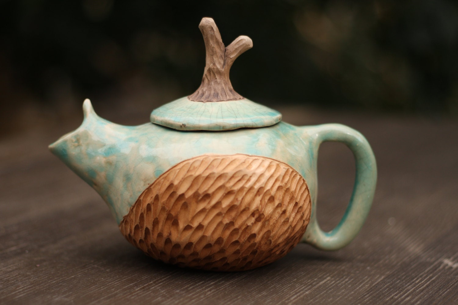Turquoise teapot Unique ceramic teapot One of kind gift teapot