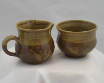 Jug and creamer - Old Mill Pottery. Wonderful examples of work by Scottish studio potter Tom Lochhead of Kirkcudbright.