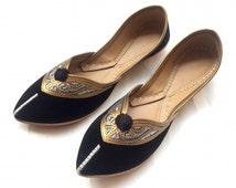 Black Flats/Copper Shoes/Silver Shoes/Ethnic Shoes/Velvet Shoes/Indian Designer Women Slippers/Maharaja Style Women
