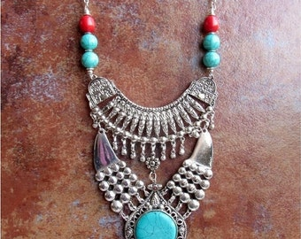 Silver Banjara Ethnic Necklace/Turquoise Necklace/Bohemian Necklace/Statement Necklace/Bib Necklace P55