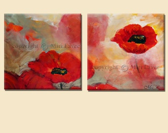 Home Decor Original Painting, Landscape Painting, Wall Art, Canvas Art, Poppy Nature Painting, Painting Abstract, 2 Piece Wall Art