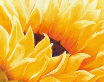 Sunflower Painting, Painting Oil, Sunflower Wall Art, Large Wall Art of Abstract Flowers, Flower Canvas Wall Art Painting, Floral Artwork