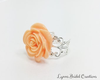 Peach Rose Ring Filigree Adjustable Ring Peach Flower Jewelry Peach Bridesmaid Gift Wedding Party Gift Flower Girl Gift Peach Prom Ring