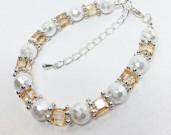 Topaz Crystal Bracelet White Pearl Bracelet Bridesmaid Gift Mother of the Bride Wedding Jewellery Topaz Wedding Bracelet Bridal Bracelet