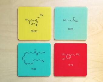 Brain Biology Psychology Coasters Neurotransmitters Biochemistry Chemistry Science Nerd Set of 4: happy love calm bliss - Geek Gift