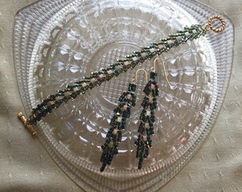 Hand Beaded Crystal Bead Earrings and Bracelet...