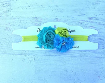 Green, teal and blue headband