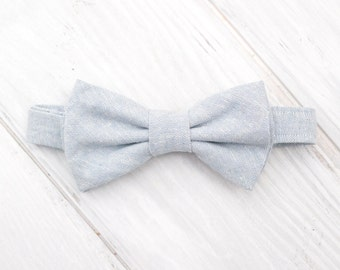 Dog Bow Tie, Light Blue Oxford Adjustable Bow Tie