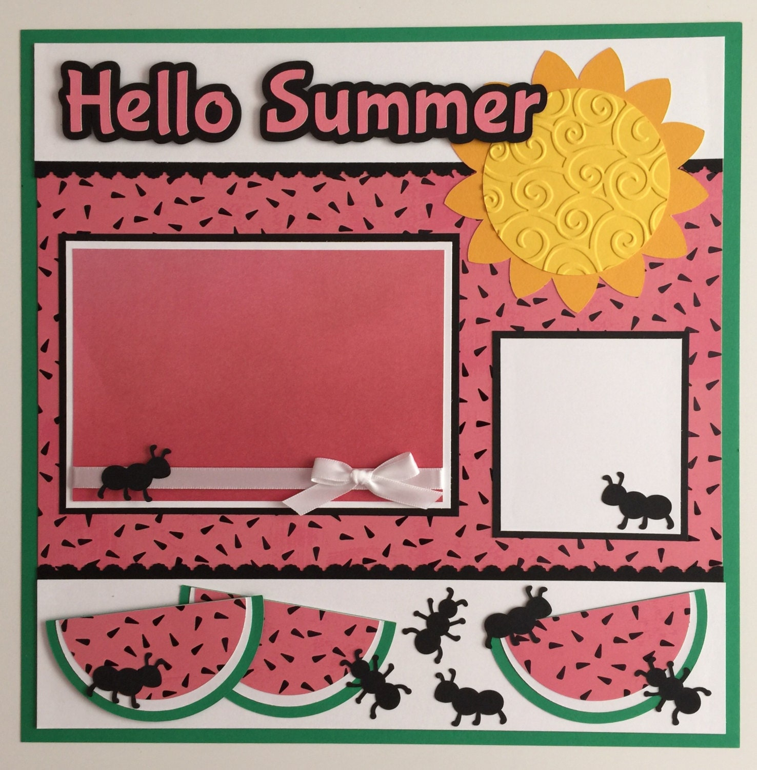 Premade 12x12 Hello Summer Scrapbook Page Layouts