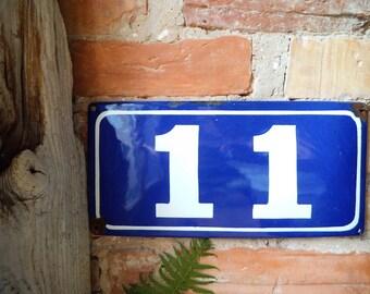 Enamel House Number 11 Door Number Blue White Number Metal Sign Eleven 11 Vintage Industrial Decor USSR