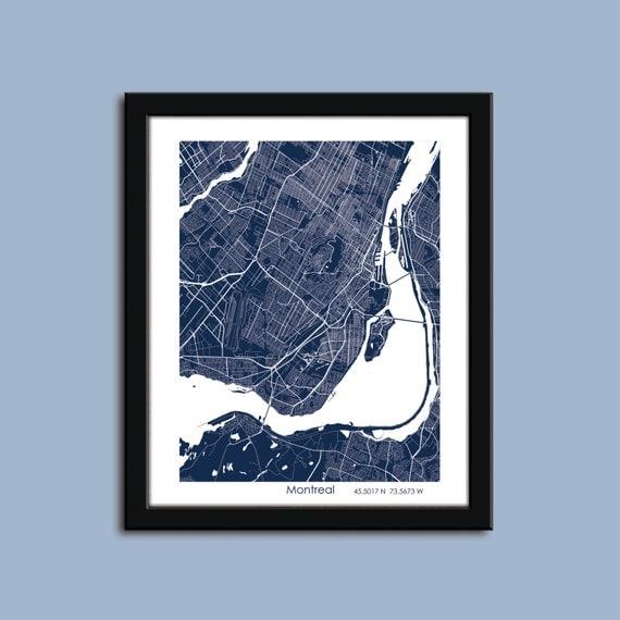 Carte de montr al montr al centre ville art carte poster art for Vente piscine montreal