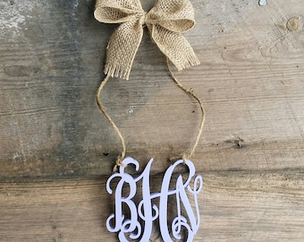 Rear View Mirror Monogram - Car Charm - Painted Mini Monogram
