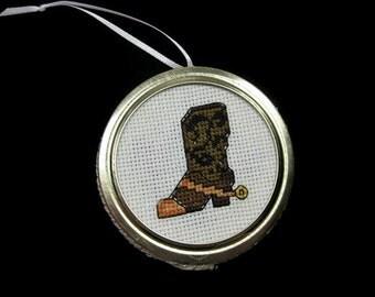 Cross Stitch Cowboy Boot Ornament