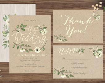 Rustic Wedding Invitation Set printable