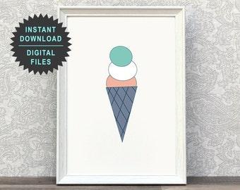Childrens Art | Ice Cream Poster | Cute Nursery | Ice Cream Cone | Colorful Wall Art | Toddler Art Print | Mint | Illustration