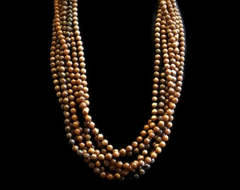 Multi Strand Brown Marbled Bead Necklace