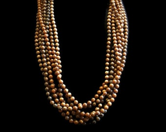 Vintage Multi Strand Bead Necklace Layered Bead Necklace In Brown