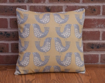 """Love Birds Mustard Yellow and Grey Decorative Home Decor Pillow Cushion Cover 16"""" / 40cm"""