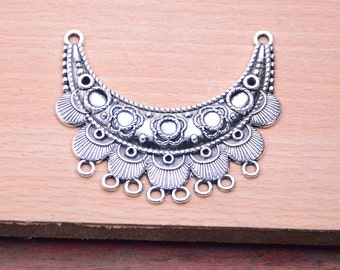 antique silver moon pendant finding,Filigree flower boat shape charms,4pcs metal moon Shaped 8 Holes Connector Charm Pendants 63x54mm