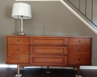 Mid Century Nine Drawer Credenza / Triple Dresser / Buffet