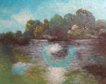 Vintage oil painting woodland landscape