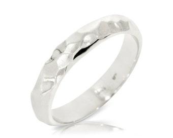 Rustik Wedding Band, 14K White Gold Ring Size 8.5 White Gold Band Ring, Wedding Jewelry Gift Anniversary Gift