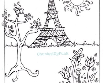 paris illustration pdf coloring page paris in spring city landscape paris coloring - Paris Eiffel Tower Coloring Pages