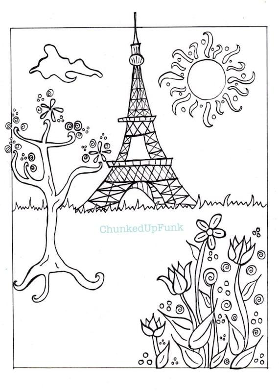paris illustration pdf coloring page paris in spring city landscape paris coloring - Paris Eiffel Tower Coloring Pages