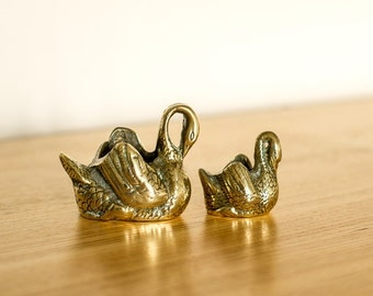 Pair of Brass Swans - Mother and Signet - Perfect Mothers Day gift