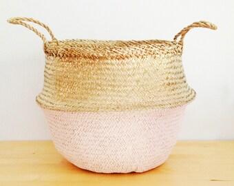 Panier Boule rangement chambre d'enfant plage Panier pique-nique sac jouet à linge le ventre métallisé or et herbe de mer rose saumon