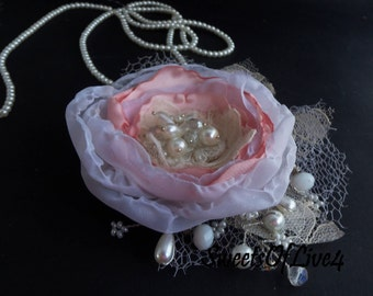 Wedding hair flower Bridal hair flower Wedding hair accessories Bridal hair accessories Wedding headpiece Lace  Vintage Beige  dusty rose