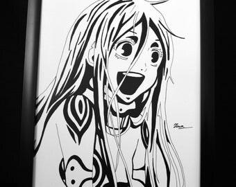 Shiro from Deadman Wonderland Black and White Print